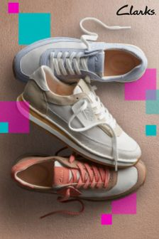 Clarks White Suede CraftRun Lace Trainers