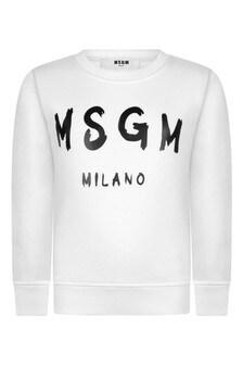 Kids White Cotton Logo Sweatshirt