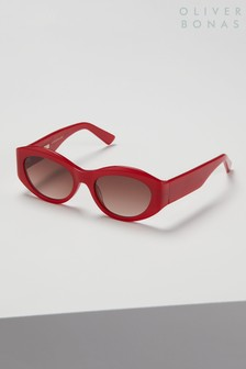 Oliver Bonas Red Lisbon Retro Oval Sunglasses