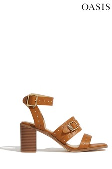Oasis Tan Studded Strap Sandals