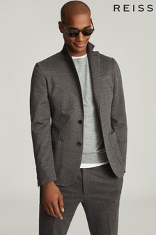 Reiss Grey Flexo Slim Fit Jersey Stretch Blazer