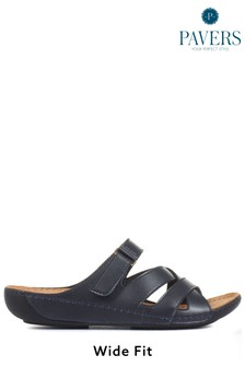 Pavers Blue Navy Ladies Touch Fasten Mules
