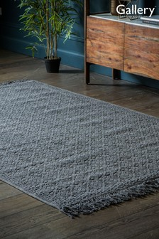 Gallery Direct Charcoal Wentworth Geo Fringed Rug