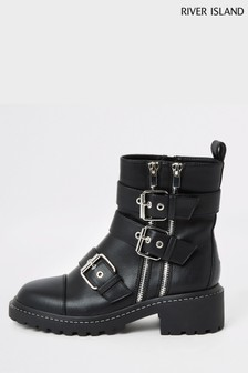 River Island Black Nero Buckle Biker Boots
