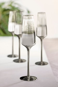 Celeste Metallic Embossed Set of 4 Flute Glasses