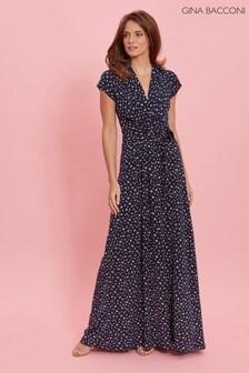 Gina Bacconi Blue Doria Cluster Spot Jersey Maxi Dress