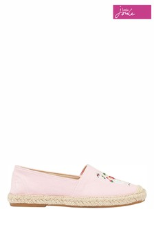 Joules Pink Jnr Shelbury Embroidered Canvas Espadrilles