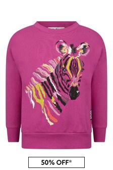 Girls Pink Zebra Foal Sweater