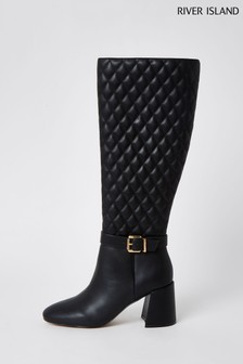 River Island Black Embroidered High Leg Boots