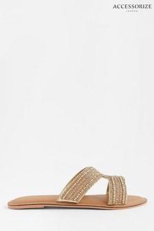 Accessorize Gold Seville Beaded Sliders