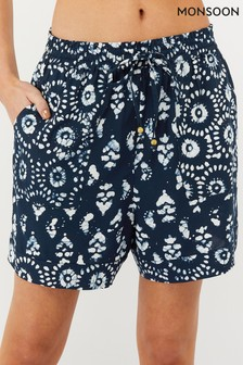 Monsoon Navy Anjali Batik Shorts