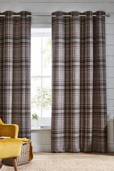 Natural Hartley Check Eyelet Curtains