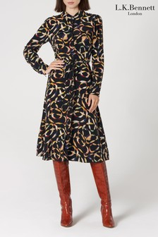 L.K. Bennett Animal Runa Silk Shirt Dress