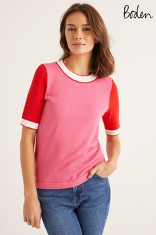 Boden Pink Abingdon Cotton Knitted T-Shirt