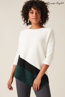 Phase Eight White Cailey Colourblock Ripple Knit Jumper