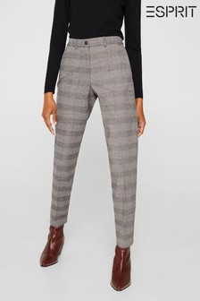 Esprit Brown Checkered Chinos