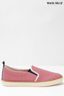 White Stuff Red Billie Stripe Skater Trainers