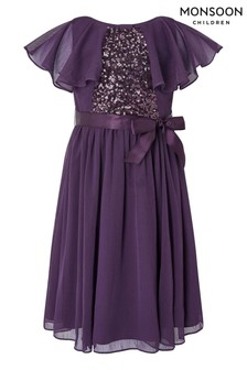 Monsoon Purple Cape Sequin Dress