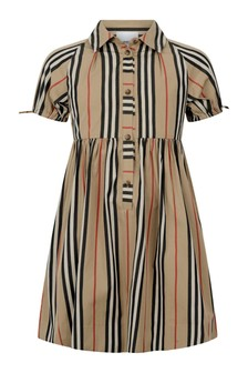 Girls Beige Icon Stripe Cotton Dress