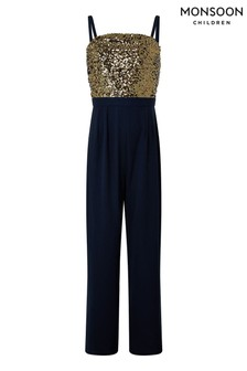 Monsoon Navy Betsy Sequin Strappy Jumpsuit