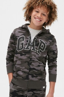 Gap Grey Camo Logo Full Zip Hoody