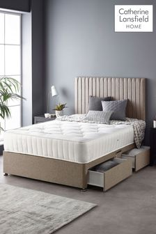 Catherine Lansfield Soho Divan Set With Ortho Pocket Mattress Natural