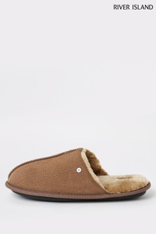 River Island Brown Mule Slippers