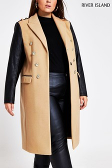 River Island Brown Light Contrast Sleeve Military Coat