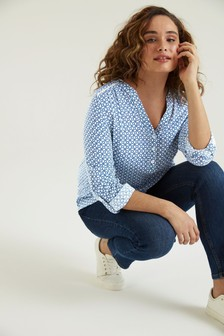 F&F Mono Geo Collarless Shirt