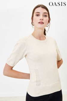 Oasis Natural Pointelle Knitted Jumper