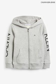 Calvin Klein Jeans Grey Large Logo Full Zip Hoody