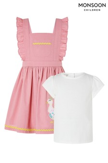 Monsoon Pink Baby Nellie Pinafore And Top