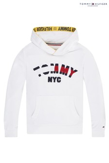 Tommy Hilfiger White Sustainable Graphic Branded Hoody