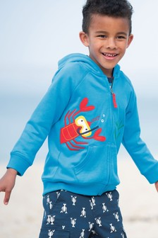 Frugi GOTS Organic Hoody With Lobster Appliqué