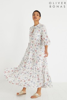 Oliver Bonas White Revival Floral Print Midi Dress
