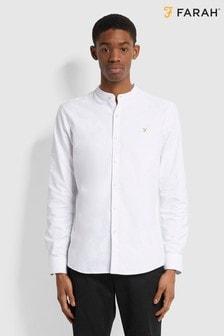 Farah White Brewer Grandad Collar Shirt
