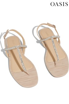 Oasis Gold Diamanté Toe Post Sandals