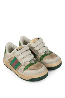 Kids Beige/Green Leather Screener Trainers