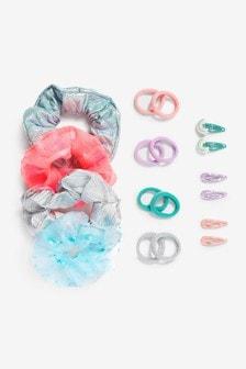 Mixed Metallic Pastel Rainbow Scrunchies & Hair Accessories Set