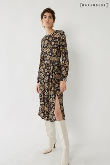 Warehouse Natural Autumn Daisy Midi Dress