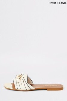 River Island Cream Snaffle Flat Sandals