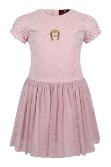 Baby Girls Pink Jersey & Tulle Logo Dress
