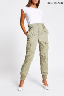 River Island Green Pull-In Waist Cargo Trousers