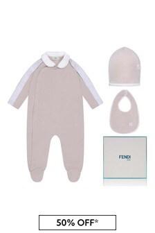 Fendi Kids Baby Pink Cotton Babygrow Gift Set