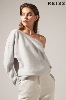 Reiss Grey Amy Asymmetric Knitted Top