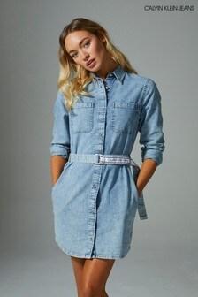 Calvin Klein Blue Denim Shirt Dress