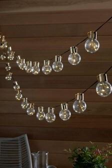 Set of 15 Solar Gold Finish LED Festoon Lights