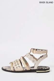 River Island Pink Caged Gladiator Sandals
