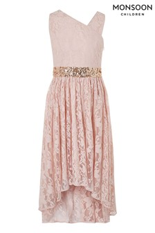 Monsoon Pink Abigail Lace Prom Dress