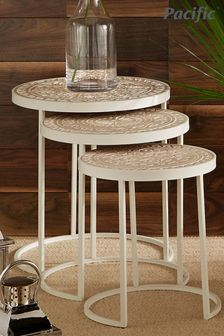Pacific Antique White And Cream Wood And Iron Set of 3 Side Tables